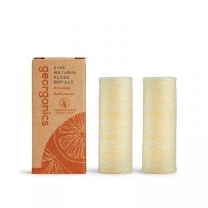 Georganics, Naturalna nić dentystyczna dla dzieci, Sweet Orange, 50mx2, REFILL