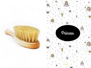 LullaLove, Szczotka z naturalnego włosia w zestawie z muślinową myjką, Księżniczka