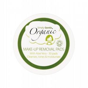 Simply Gentle, Organiczne waciki do demakijażu nasączone Aloesem  (30 szt.)