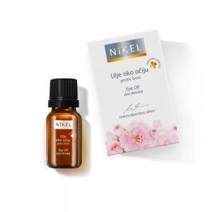 NIKEL, Olejek z kwiatów Dzikiej Róży i Passiflora pod oczy niwelujący zmarszczki, rozjaśniający cienie, 100% naturalny, 10ml