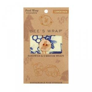 Bee's Wrap, Woskowana organiczna bawełna do zawijania, 3 szt., Lunch, 1 x S, 2 x M