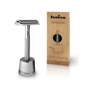Wielorazowa maszynka do golenia + żyletka i stojak SREBRNA
