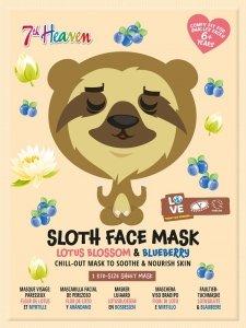7th heaven - Sloth Face Mask łagodząco-odżywcza maseczka w płachcie do twarzy Lotus Blossom & Bluberry 1szt