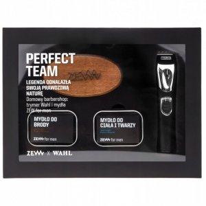 Zew for men - Perfect Team zestaw trymer Wahl Lithium Ion + mydło do brody 85ml + mydło do twarzy i ciała 85ml + szczotka do brody