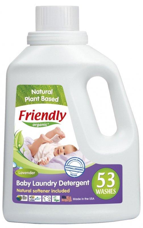 Friendly Organic, Płyn do prania ubranek dziecięcych Lawendowy, 1567 ml, 53 prania