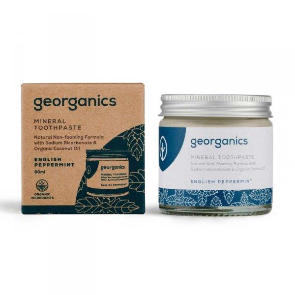 Georganics, Mineralna pasta do zębów w słoiku English Peppermint, 60ml