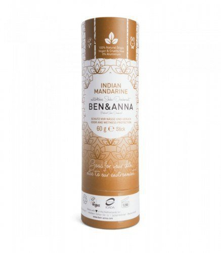 BEN & ANNA Naturalny Dezodorant na Bazie Sody INDIAN MANDARINE (sztyft kartonowy) 0% Aluminium 60g