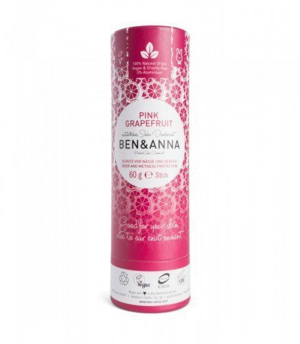 BEN & ANNA Naturalny Dezodorant na bazie Sody PINK GRAPEFRUIT (sztyft kartonowy) 0% Aluminium 60g