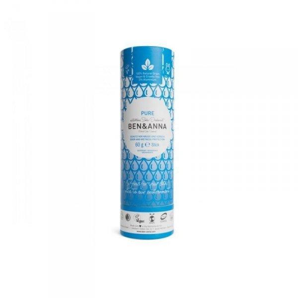 BEN & ANNA Naturalny Dezodorant na bazie Sody PURE BEZZAPACHOWY (sztyft kartonowy) 0% Aluminium 60g