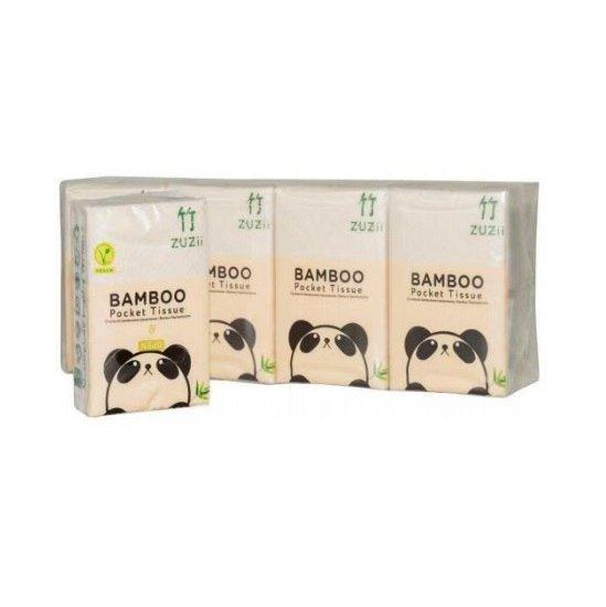 ZUZII Chusteczki higieniczne kieszonkowe bambusowe 3-warstwy 8-opakowań