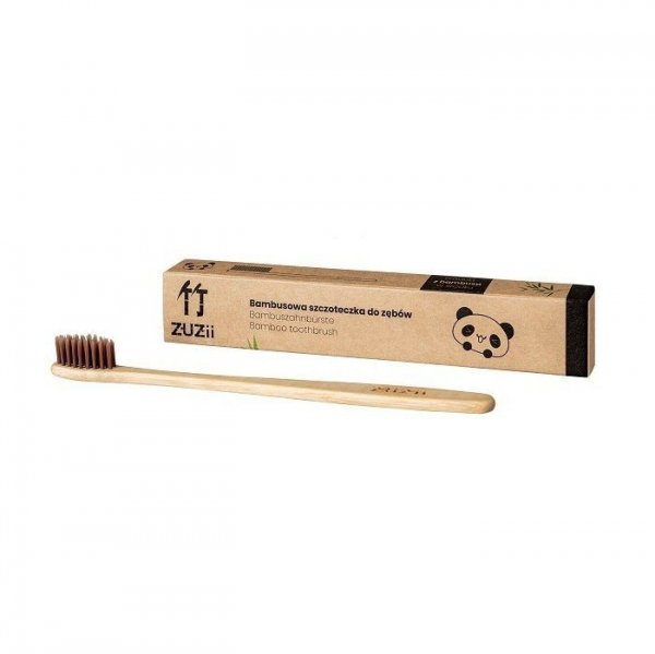 ZUZII Naturalna, wegańska szczoteczka do zębów dla dorosłych bambusowa SOFT brązowa
