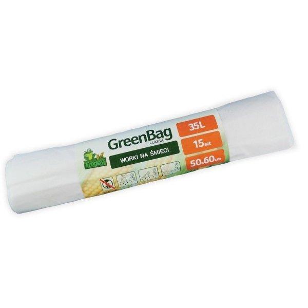 GREEN TREE Worki 35L 100% biodegradowalne i kompostowalne rolka 15 sztuk