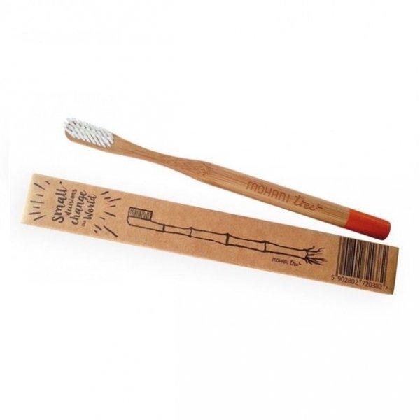 MOHANI Bambusowa szczoteczka do zębów włosie miękkie POMARAŃCZOWA