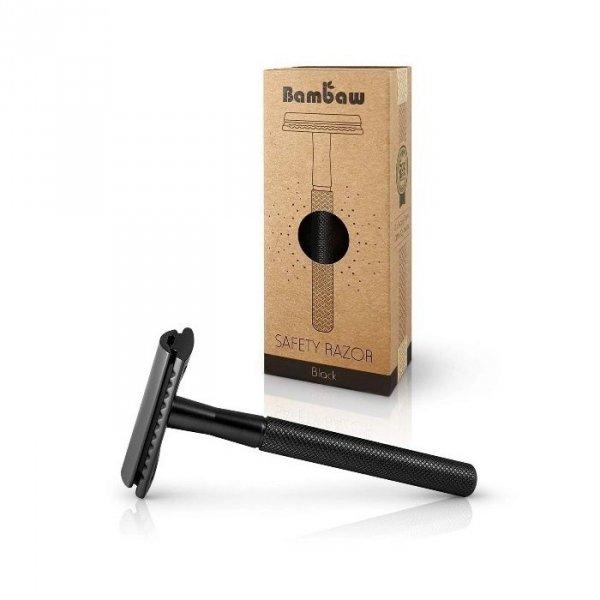 BAMBAW Wielorazowa maszynka do golenia + żyletka CZARNA