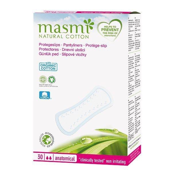 MASMI Wkładki higieniczne o anatomicznym kształcie 100% bawełny organicznej 30 SZT