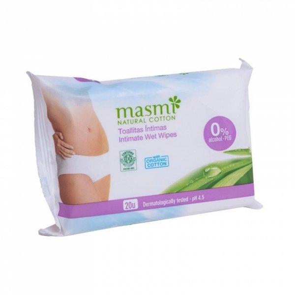 MASMI Wilgotne organiczne bawełniane chusteczki do higieny intymnej