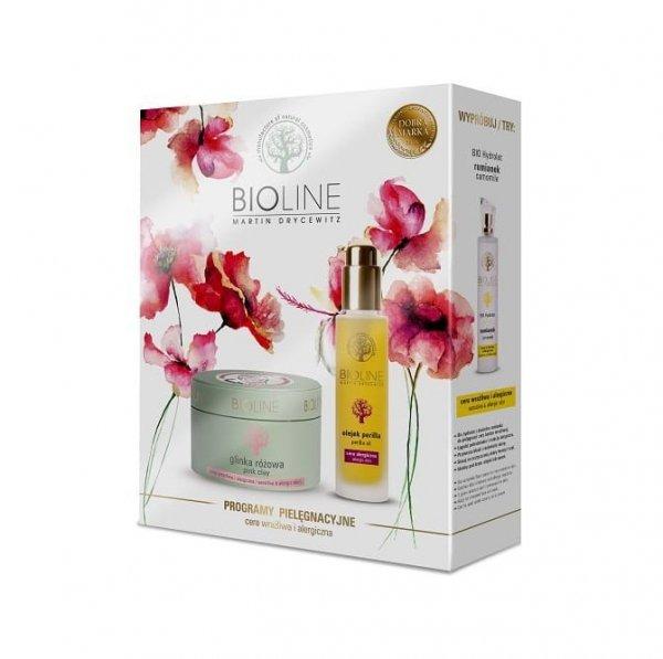 Zestaw BIOLINE dla cery wrażliwej i alergicznej z różową glinką i olejkiem perilla