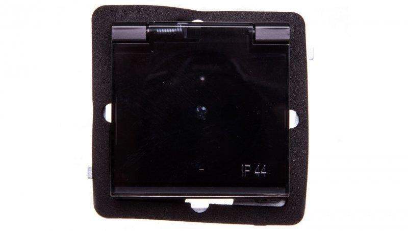 SONATA Gniazdo bryzgoszczelne z/u IP44 klapka przezroczysta czarny metalik GPH-1RZ/m/33/d
