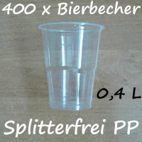 400 Bierbecher 0,4 L Transparent