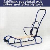 Schlitten aus Metall mit Rückenlehne und Schiebestange in blau