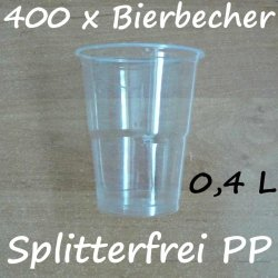 400 Bierbecher 0,4 L Transparent