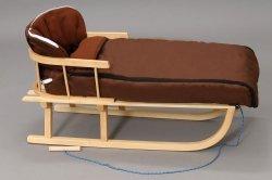 Holzschlitten mit Rückenlehne Winterfußsack 108cm Braun