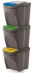 Mülleimer Abfalleimer Mülltrennsystem 3x25L Box Grau