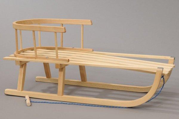 Holzschlitten mit Rückenlehne Winterfußsack 90cm Dunkelgrün
