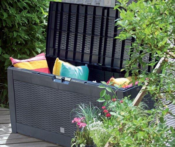 Gartenbox Auflagenbox Truhe Box Rattan-Anthrazit
