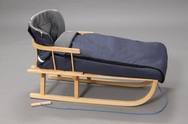 Holzschlitten mit Rückenlehne Winterfußsack 108cm Grau