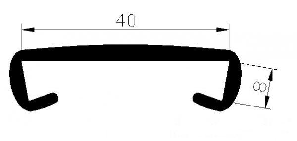 Handlauf Kunststoffhandlauf PCV Geländer 40x8 Farbe Schwarz