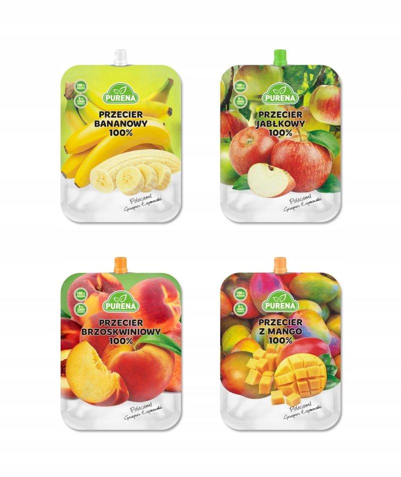 Przeciery owocowe 100% PURENA 350g x 4szt mix