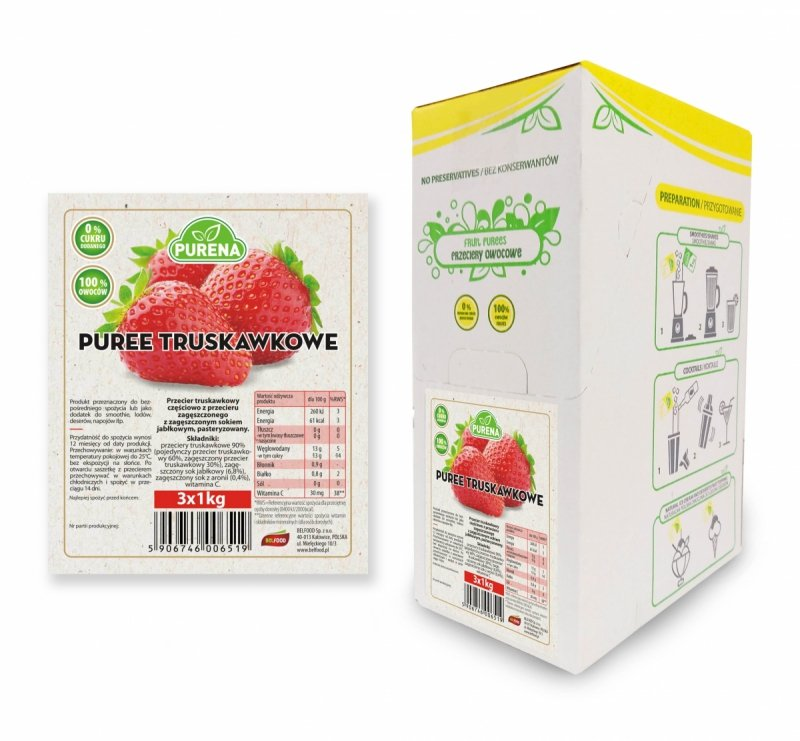 Pulpa (puree) truskawkowa b/c 3x1kg