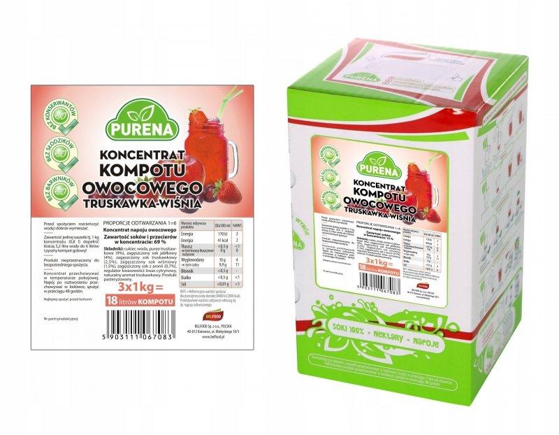 Kompot truskawka-wiśnia koncentrat 18l/3kg
