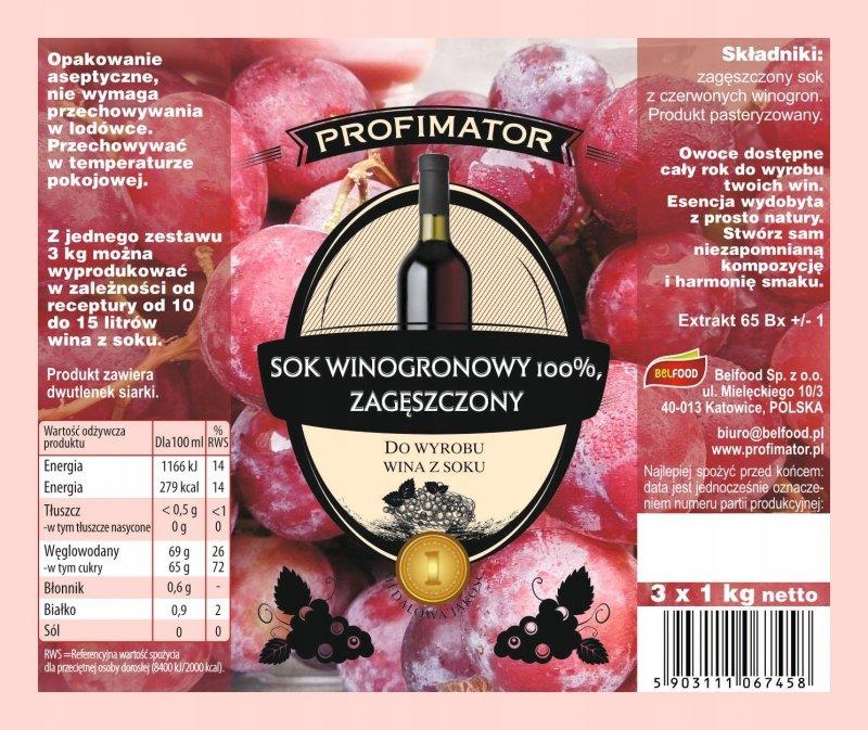 Sok z czerwonych winogron na wino zagęszczony 3kg