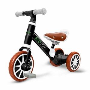 Laufrad, Fahrrad 3in1 mit Pedalen + Seitenrädern, schwarz