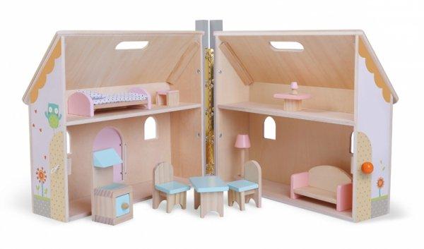 Holzpuppenhaus 4 Zimmern Möbeln Zubehör Holz Puppenstube Holzspielzeug Kinderpuppenhaus Kinder Puppenhaus