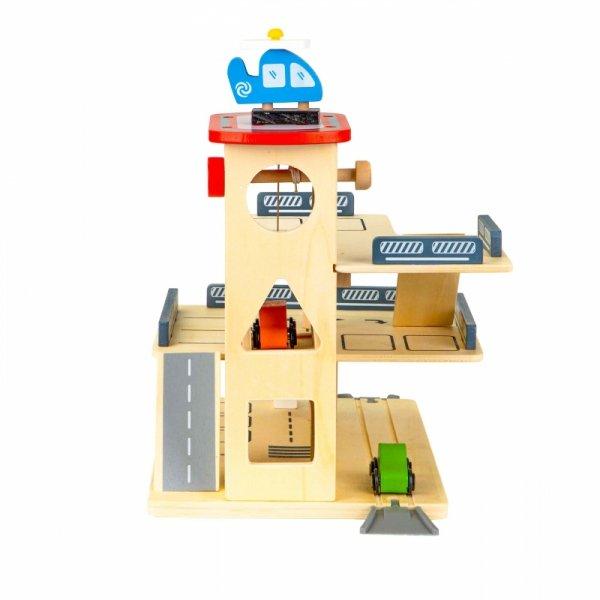 Holzautogarage Parkhaus PARKTOWER Aufzug Autos Hubschrauber 3 Ebenen Holzspielzeug Kinder Tankstelle Flughafen