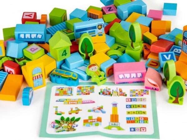 Kinder Bausteine 100 St Städtchen Holzbausteine Sortierer Bauklötze Spielzeug Motorik Holzklötze