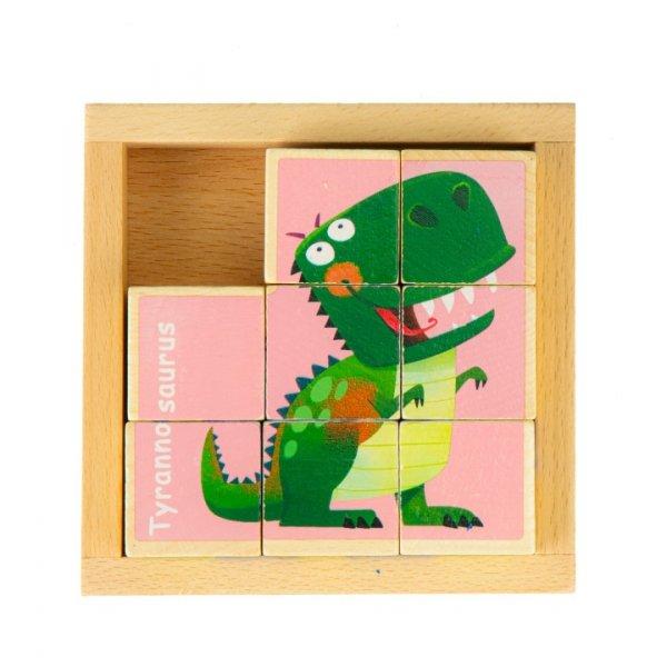 Würfelpuzzle Dinosaurier Holz Bilderwürfel Setzpuzzle 3 Motive Kinderpuzzle Puzzle Holzspielzeug