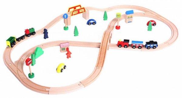 Holzeisenbahn Schienenbahn Bahnset Schienen Gebäude Holzspielzeug Kinder Spielzeugeisenbahnen Eisenbahnzubehör