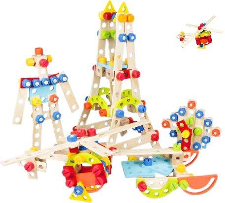 120tlg Konstruktionsbausteine ECOTOYS Holzbausteine Konstruktion Kinderwerkzeug