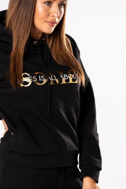 Bluza bawełniana z kapturem Gold Letters M80420 Black