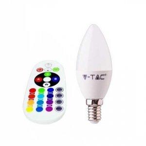 Żarówka LED V-TAC 3.5W E14 Świeczka Pilot VT-2214 3000K+RGB 320lm