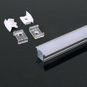 Profil Aluminiowy V-TAC 2mb Anodowany, Klosz Mleczny, Wpuszczany VT-8107