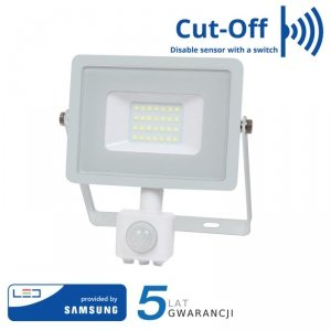 Projektor LED V-TAC 20W SAMSUNG CHIP Czujnik Ruchu Funkcja Cut-OFF Biały VT-20-S 6400K 1600lm 5 Lat Gwarancji