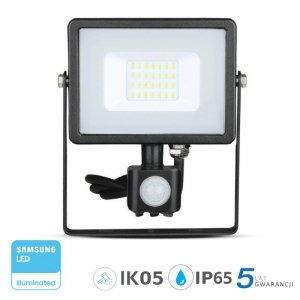 Projektor LED V-TAC 20W SAMSUNG CHIP Czujnik Ruchu Funkcja Cut-OFF Czarny VT-20-S 6400K 1600lm 5 Lat Gwarancji