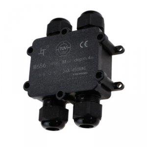 Puszka Złączka Mufa Hermetyczna Czarna 4x 4Pin 0.5-4mm2 Średnica kabla 8-12mm IP68 V-TAC VT-871