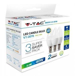 Żarówka LED V-TAC 5.5W E14 Świeczka (Opak. 3szt) VT-2076 2700K 470lm