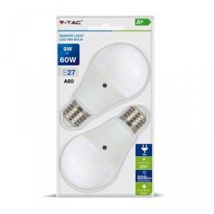 Żarówka LED V-TAC 9W E27 A60 Czujnik Zmierzchu 200D (Blister 2szt) VT-2109 2700K 806lm